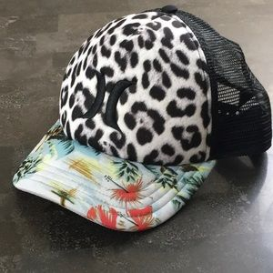 Leopard tropical Hurley trucker vacay SnapBack hat